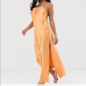 asos orange satin slip dress